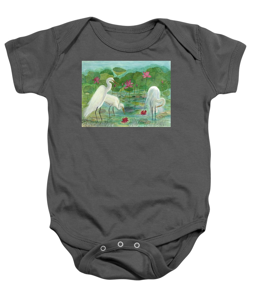 Lily Pads; Egrets; Low Country Baby Onesie featuring the painting Summer Trilogy by Ben Kiger