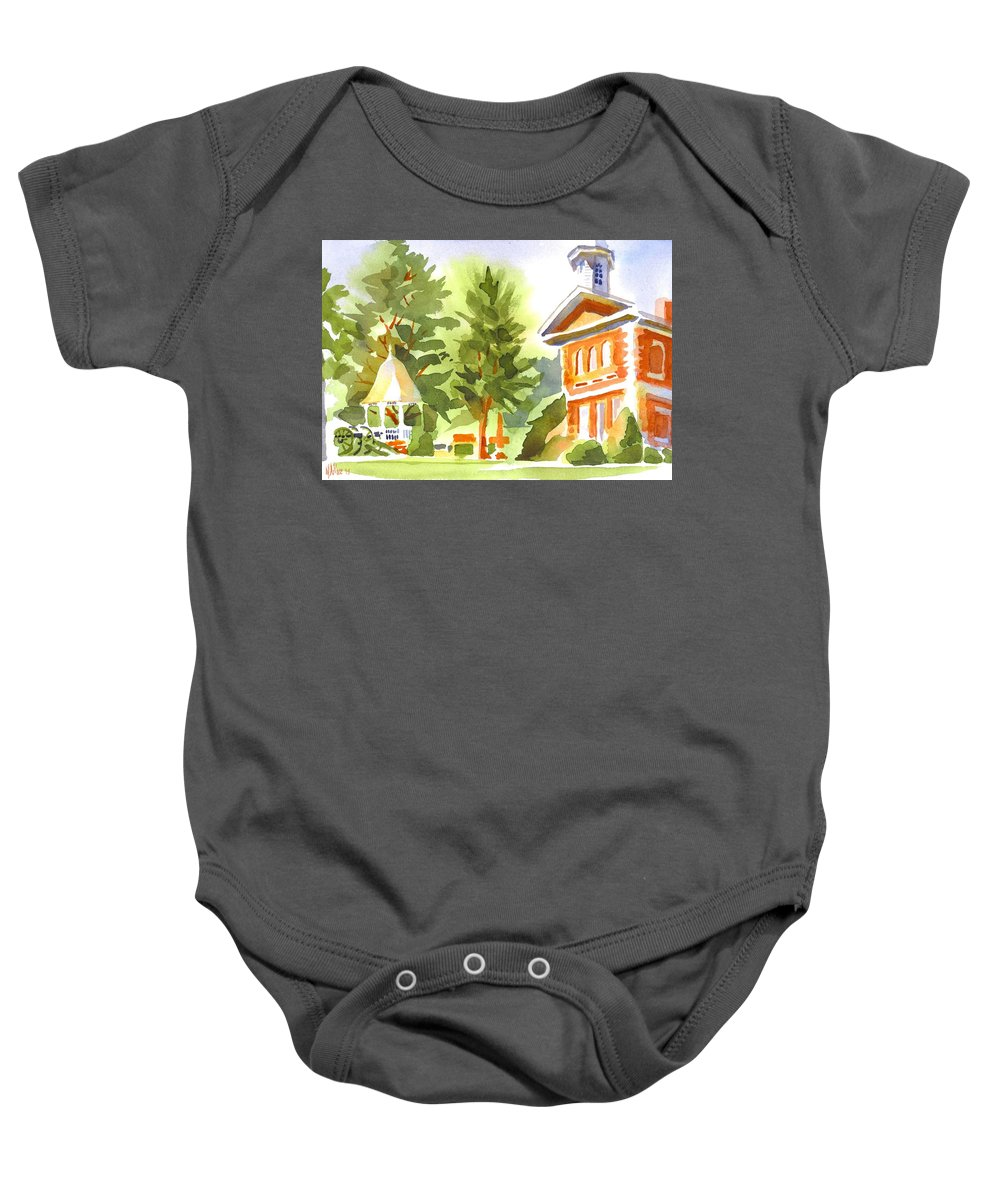 Summers Morning On The Courthouse Square Baby Onesie featuring the painting Summers Morning On The Courthouse Square by Kip DeVore