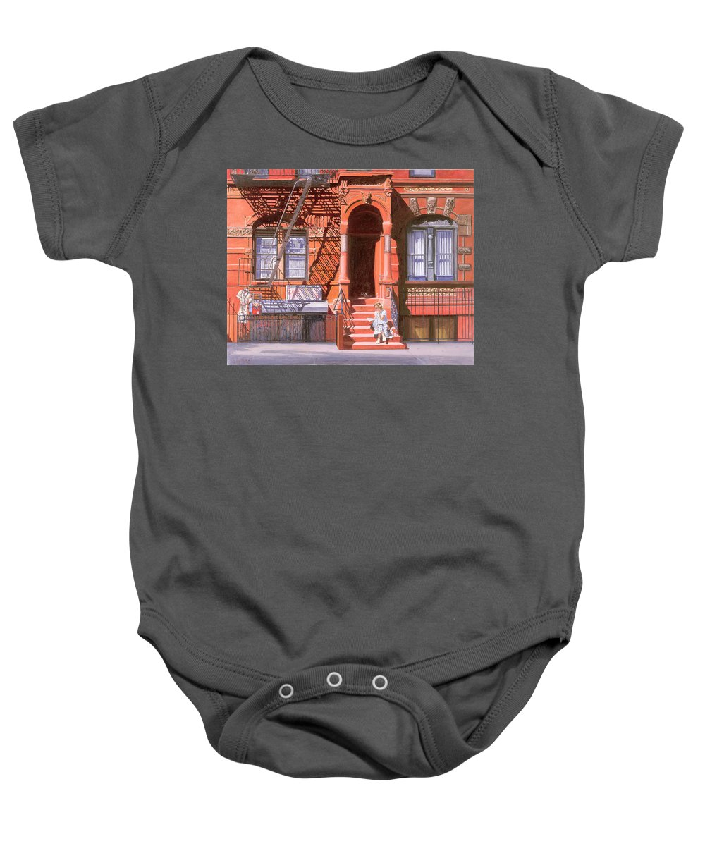 Brownstone Baby Onesie featuring the painting Sunday Afternoon East 7th Street Lower East Side Nyc by Anthony Butera