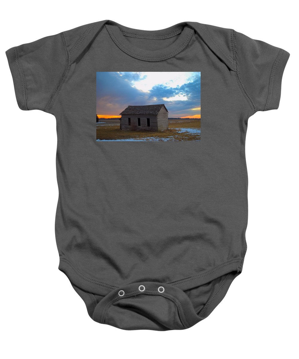 Abandoned Baby Onesie featuring the photograph Sundown School 2 by Bonfire Photography