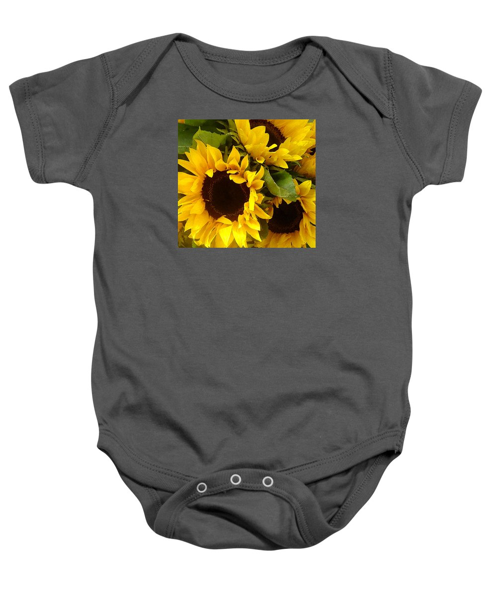 Sunflowers Baby Onesie featuring the painting Sunflowers by Amy Vangsgard