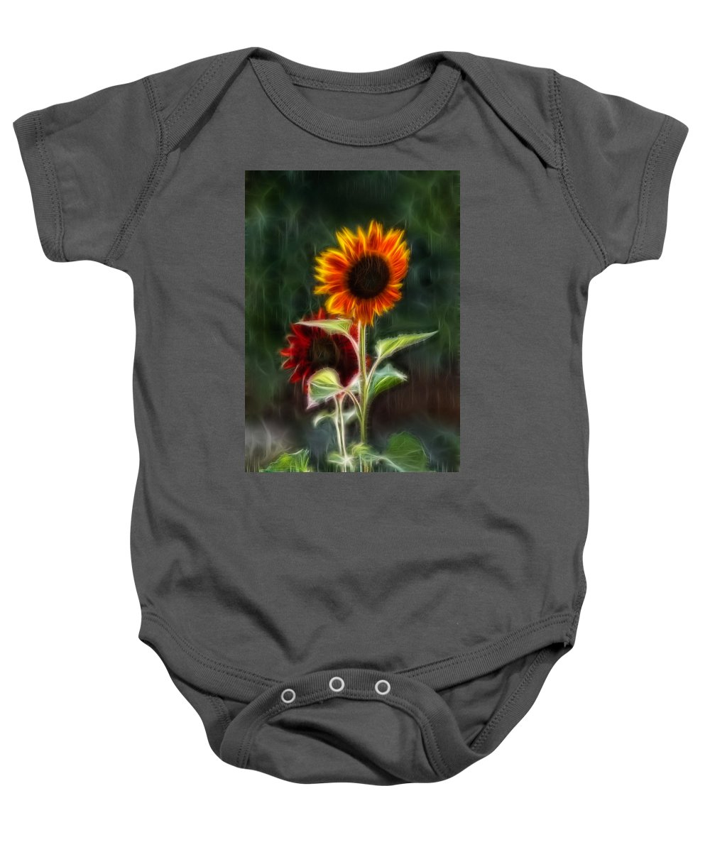 Abstract Baby Onesie featuring the painting Sunflowers In The Rain by Omaste Witkowski