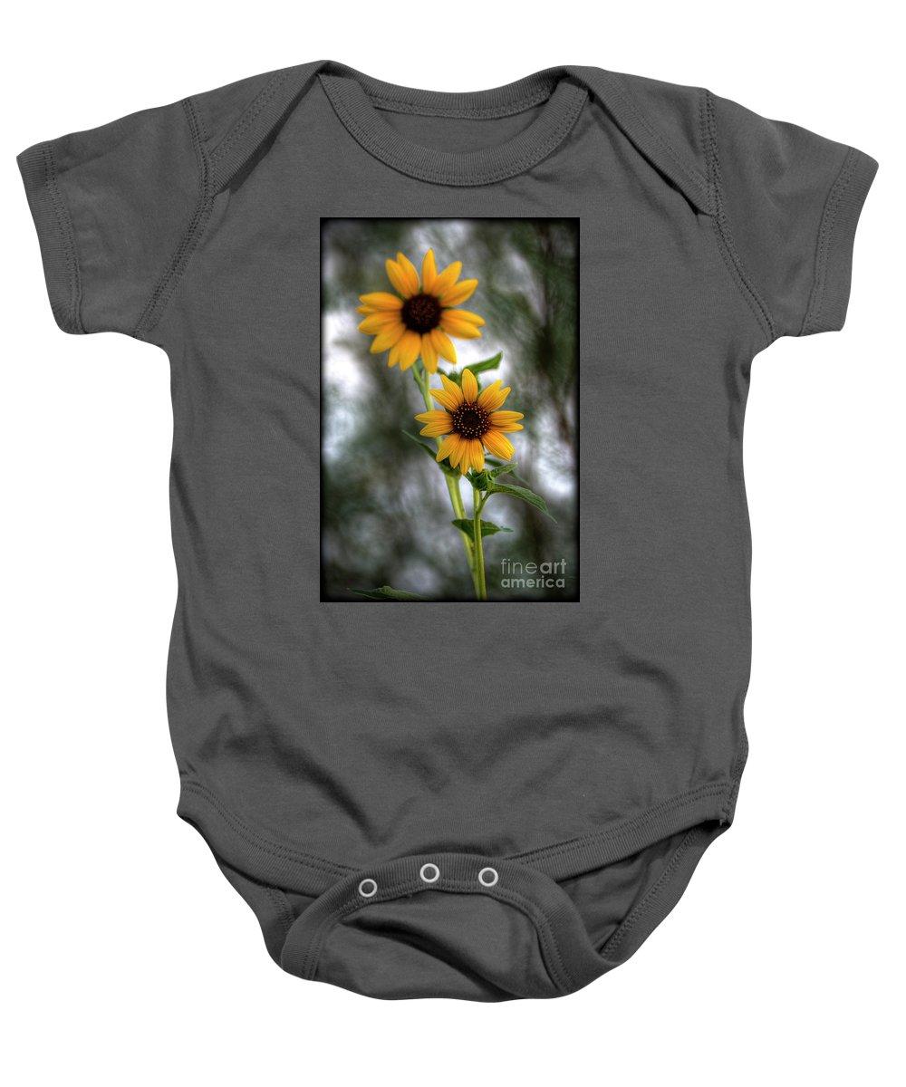 Yellow Sunflowers Baby Onesie featuring the photograph Sunflowers by Saija Lehtonen