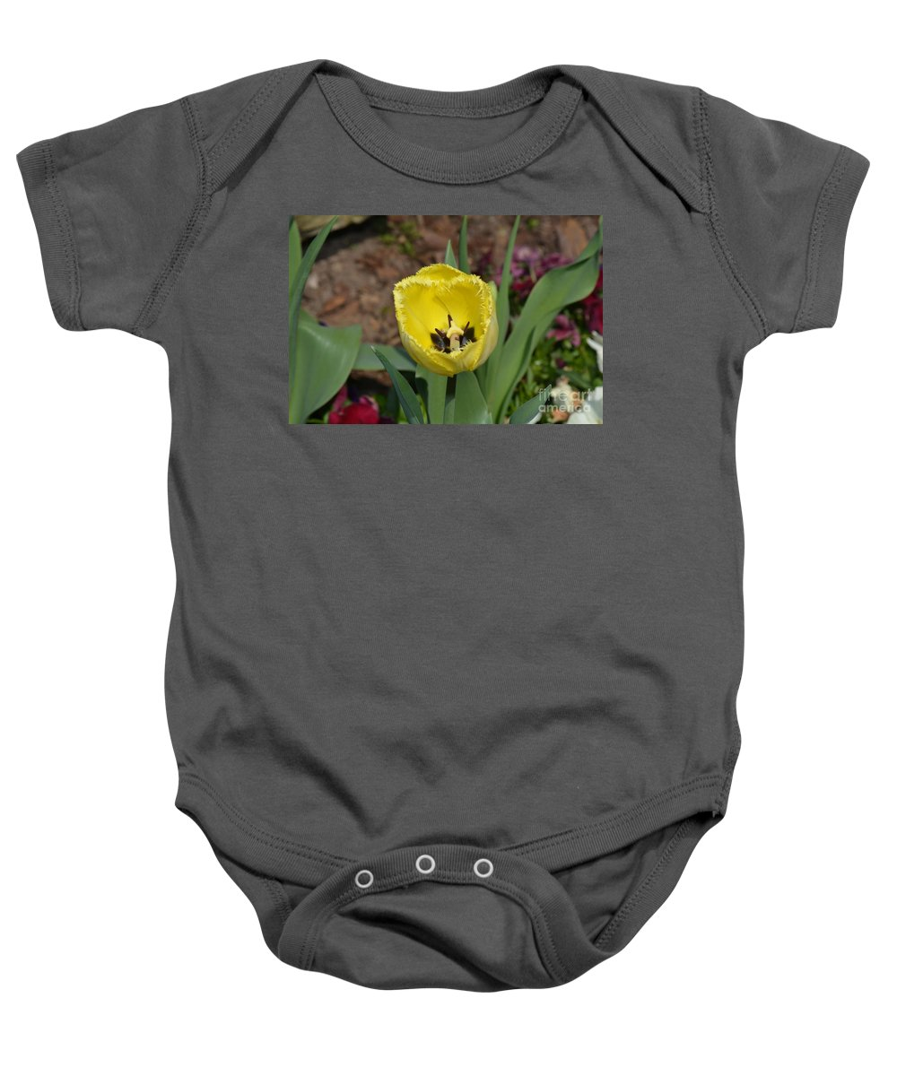 Floral Baby Onesie featuring the photograph Sunny Yellow Tulips Series Picture D by Barb Dalton
