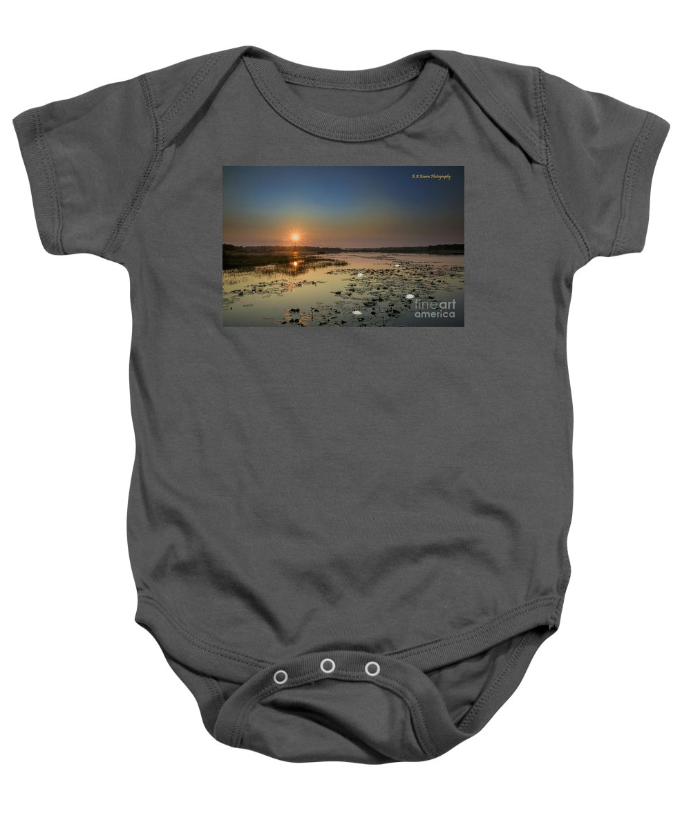 Sunrise Baby Onesie featuring the digital art Sunrise And Water Lilies by Barbara Bowen