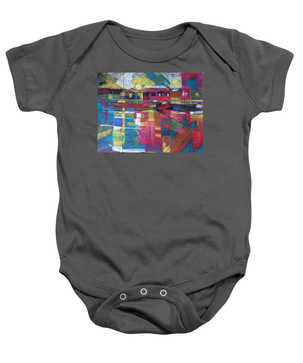 River Line Baby Onesie featuring the painting Sunrise At Mom's by Said Oladejo-lawal