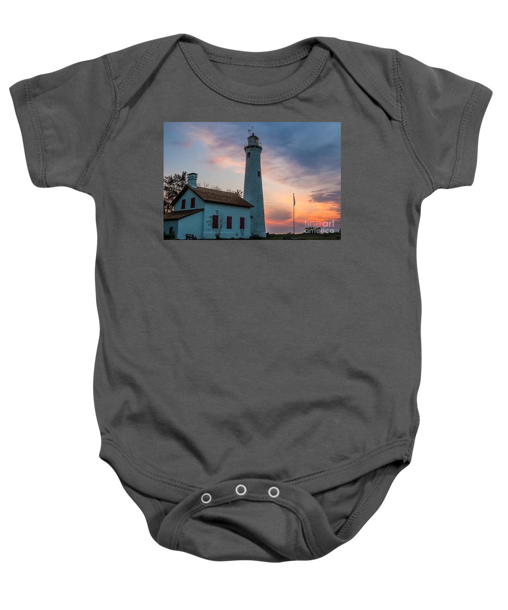 Sunrise Baby Onesie featuring the photograph Sunrise At Sturgeon Point by Patrick Shupert
