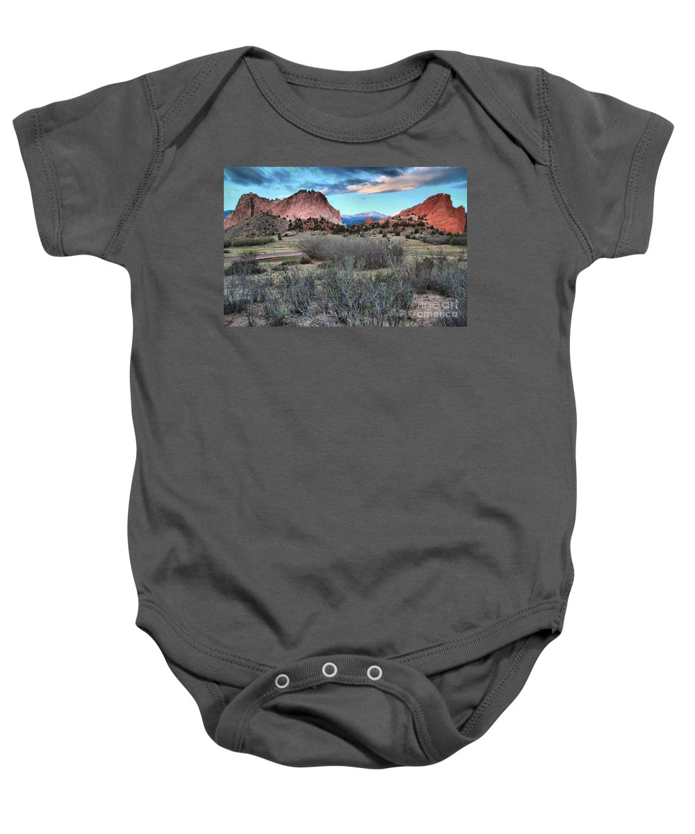Garden Of The Gods Baby Onesie featuring the photograph Sunrise At The Gods by Adam Jewell