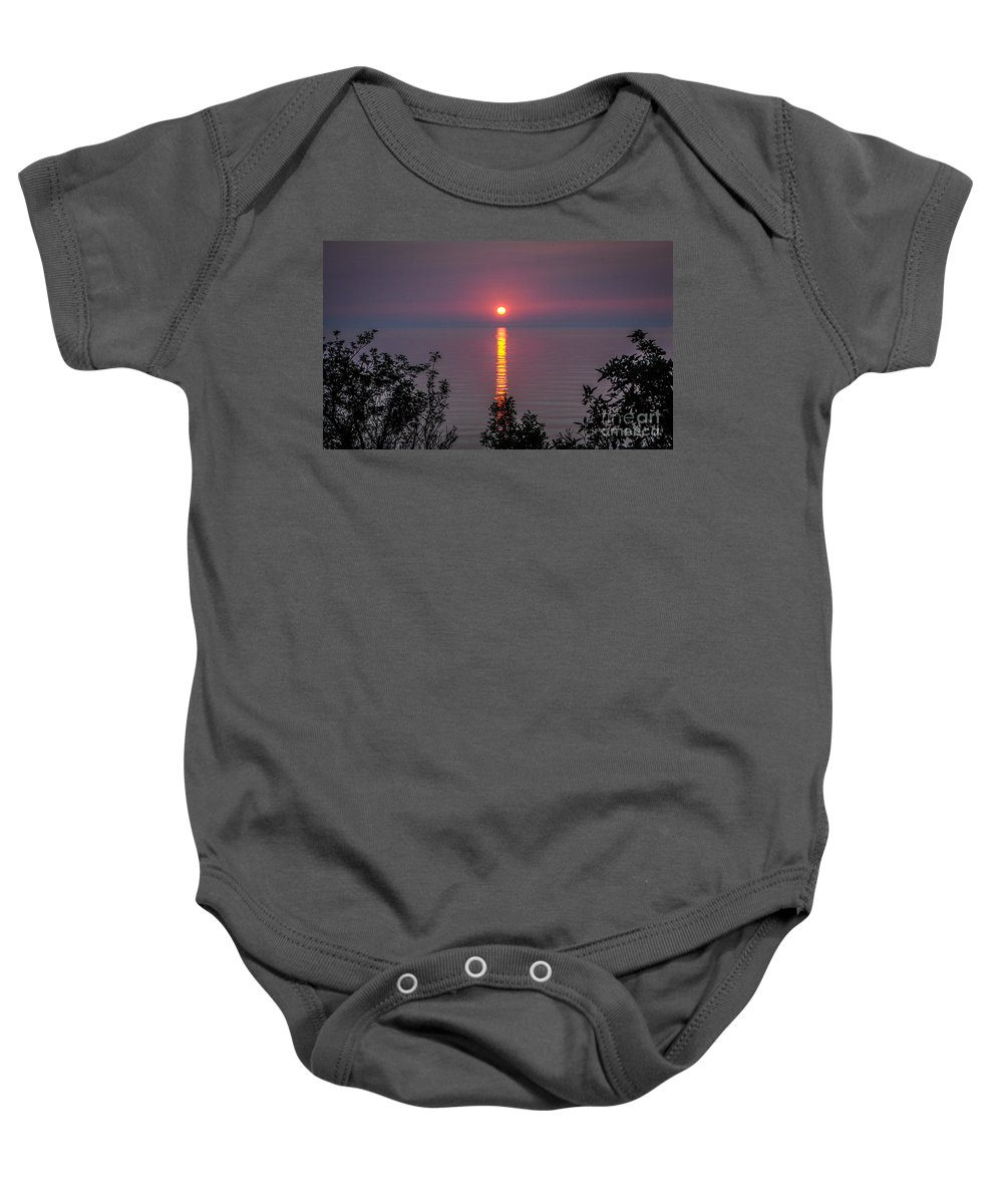 Sunrise Baby Onesie featuring the photograph Sunrise On Middle Island by Grace Grogan