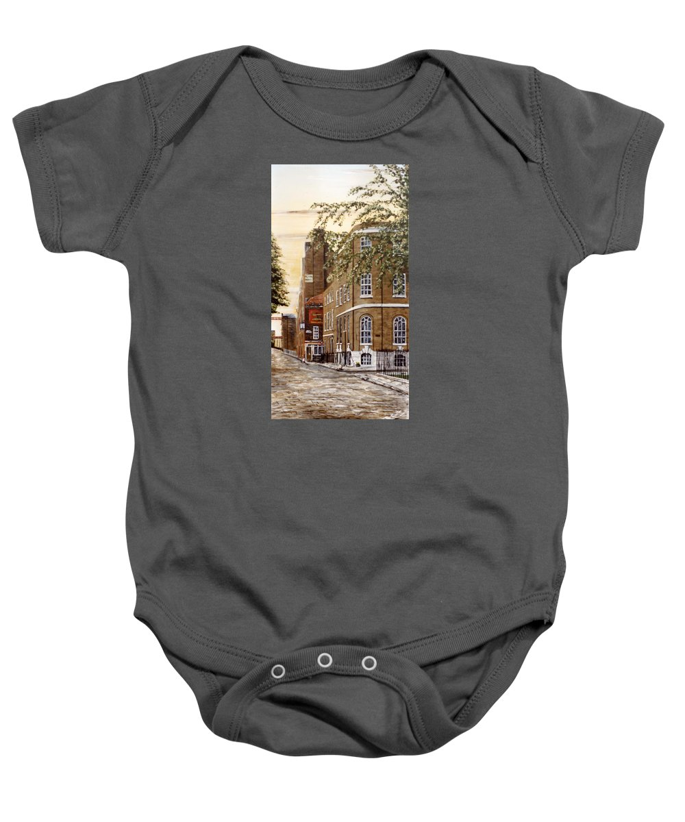 Wapping Baby Onesie featuring the painting Sunrise On Wapping High Street London by Mackenzie Moulton