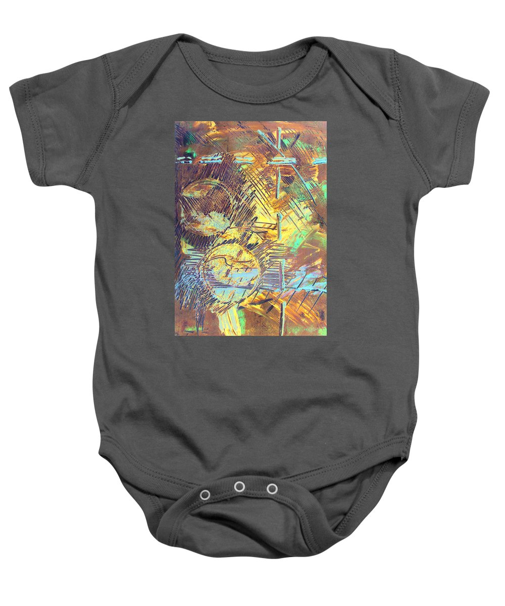 Sunrise Baby Onesie featuring the painting Sunrise One by Albert Puskaric
