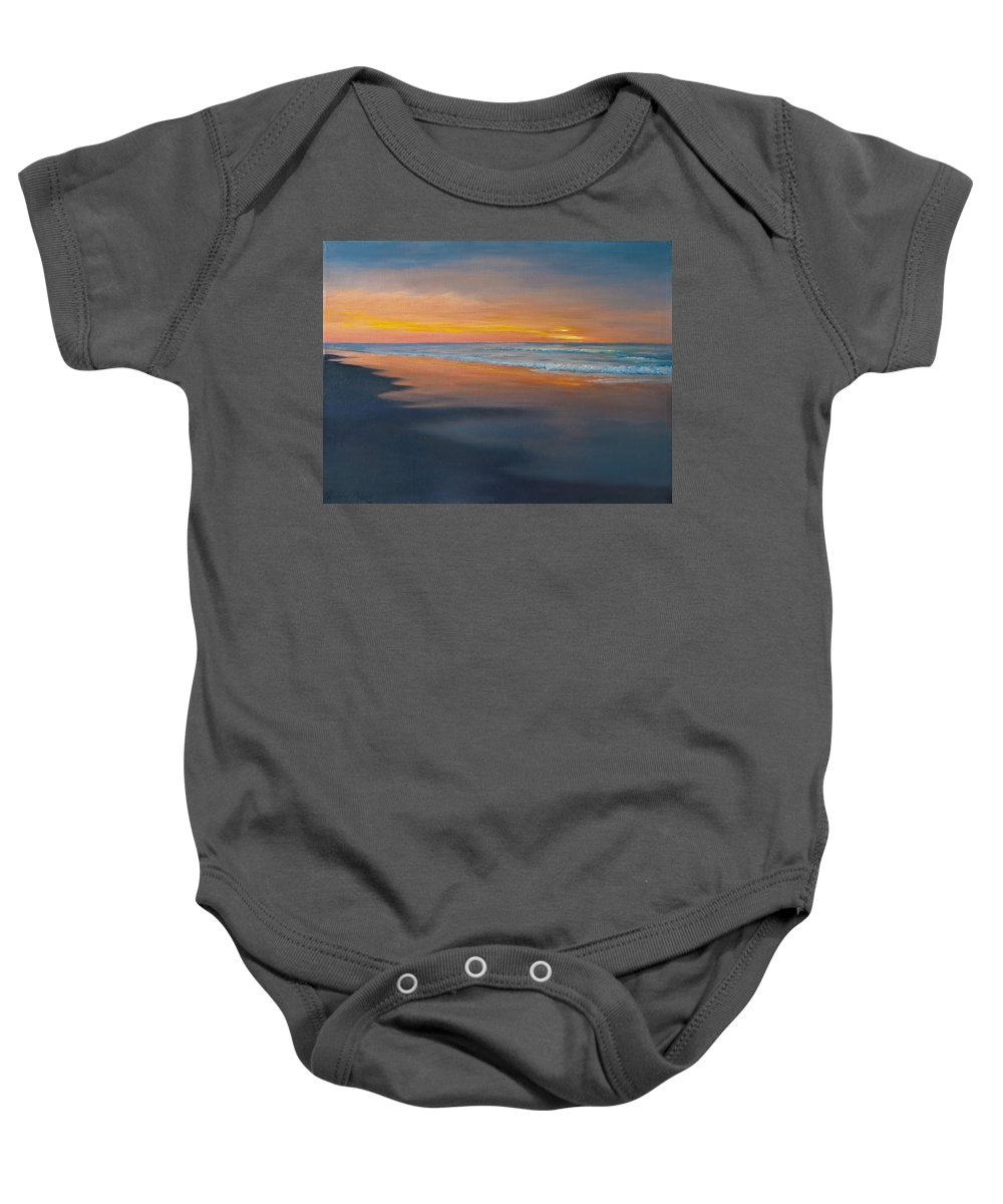 Myrtle Beach Sunrise Baby Onesie featuring the painting Sunrise Reflections by Audrey McLeod