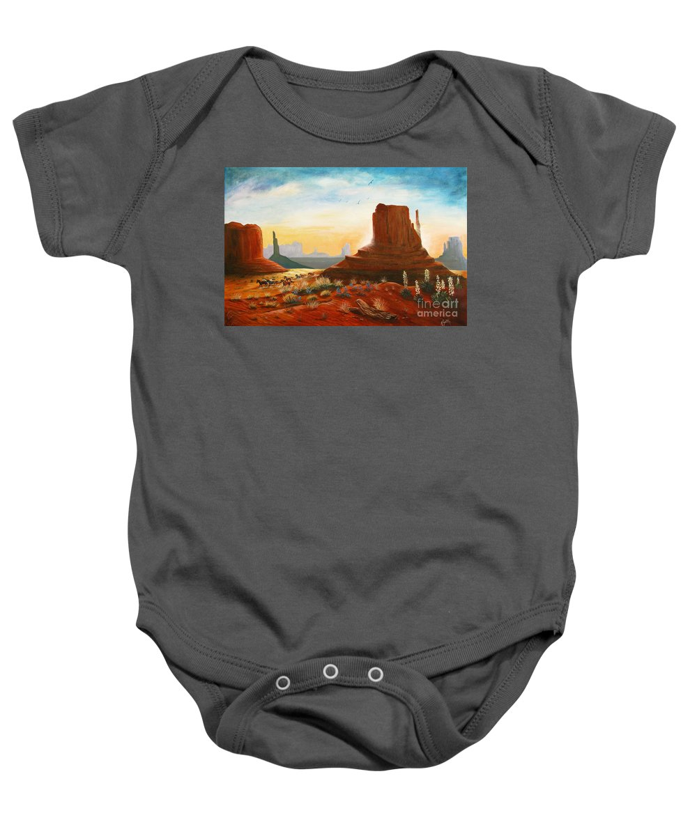 Monument Valley Scene Baby Onesie featuring the painting Sunrise Stampede by Marilyn Smith