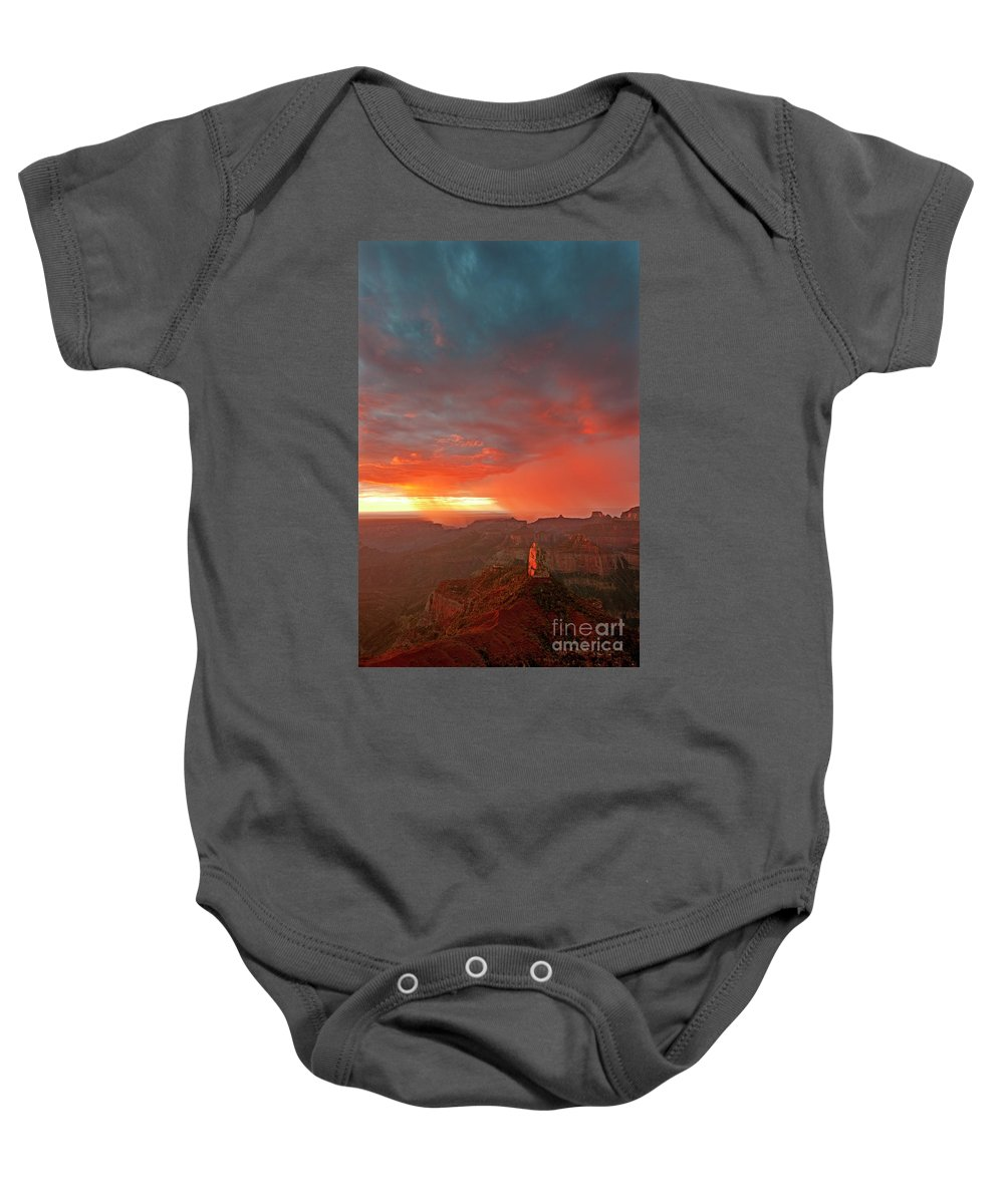 North America Baby Onesie featuring the photograph Sunrise Storm Point Imperial North Rim Grand Canyon Np Arizona by Dave Welling