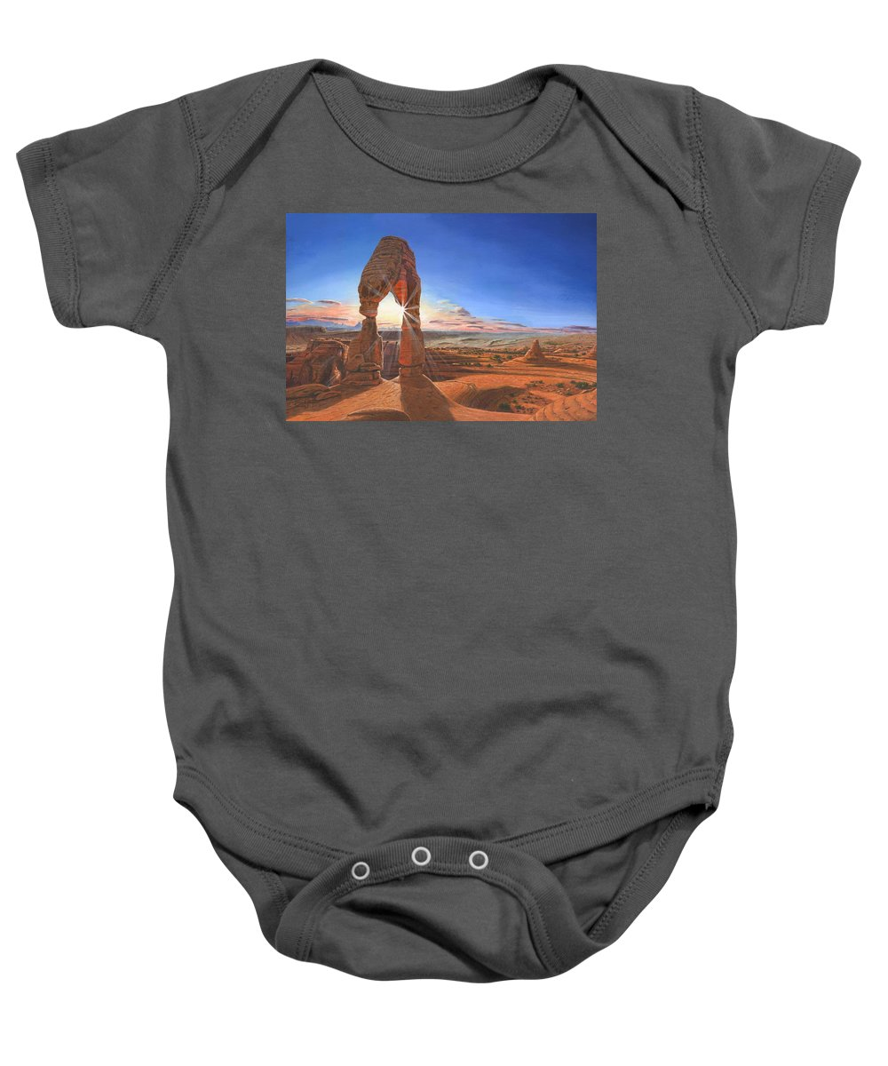 Delicate Arch Baby Onesie featuring the painting Sunset At Delicate Arch Utah by Richard Harpum