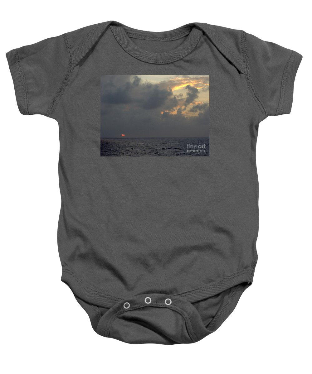 Sunset Baby Onesie featuring the photograph Sunset At Sea by D Hackett