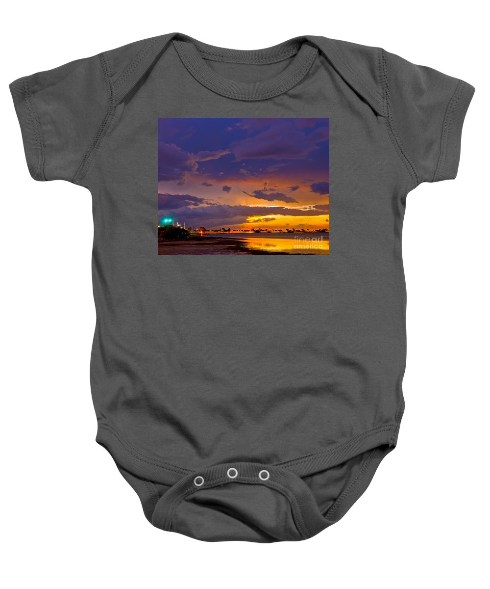 Florida Baby Onesie featuring the photograph Sunset By Causeway Bridge by Stephen Whalen