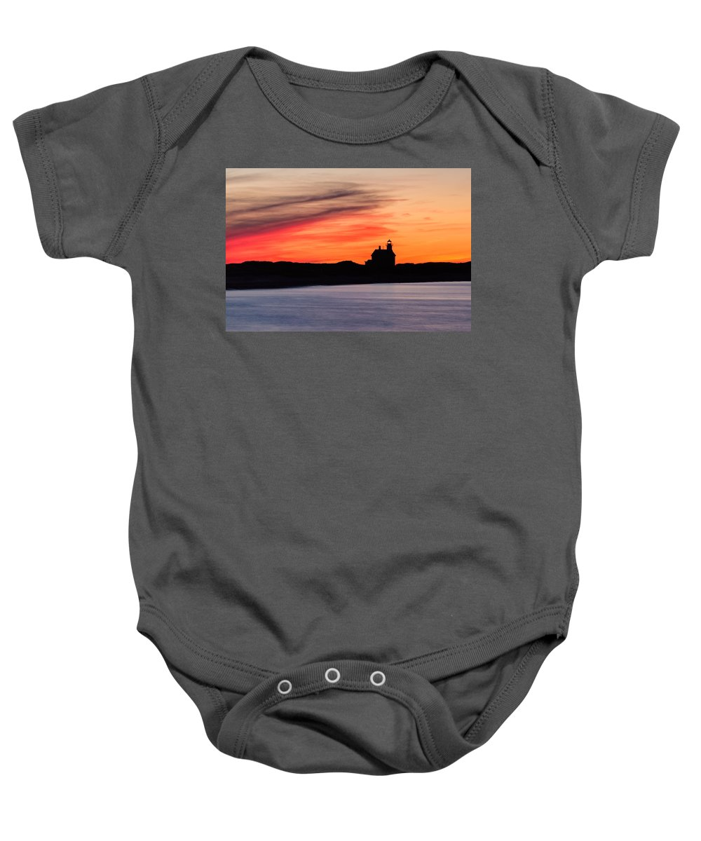 Block Island Baby Onesie featuring the photograph Sunset Hues by Michael Blanchette