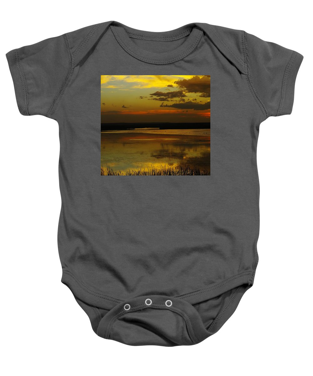 Lakes Baby Onesie featuring the photograph Sunset On Medicine Lake by Jeff Swan