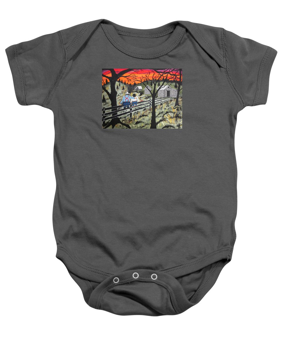 Beautiful Sky Baby Onesie featuring the painting Sunset On The Fence by Jeffrey Koss