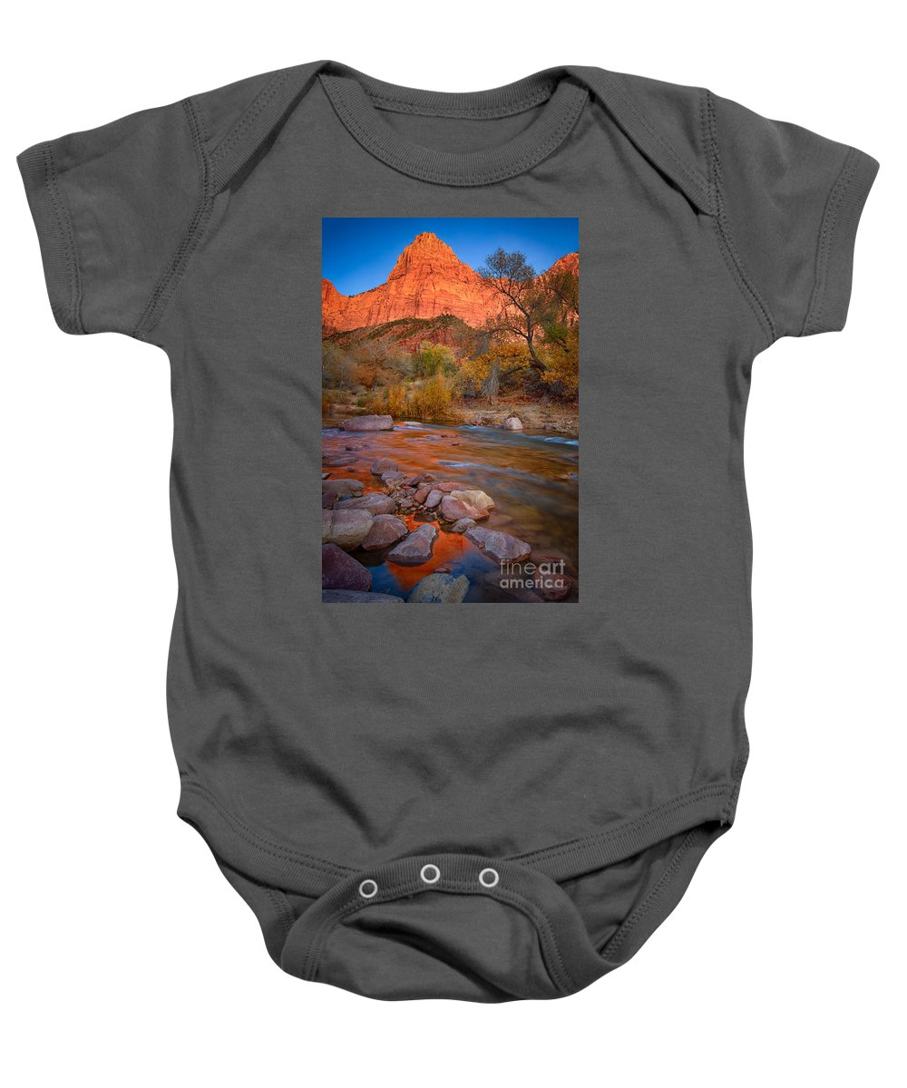 Zion Baby Onesie featuring the photograph Sunset On The River by Beth Sargent