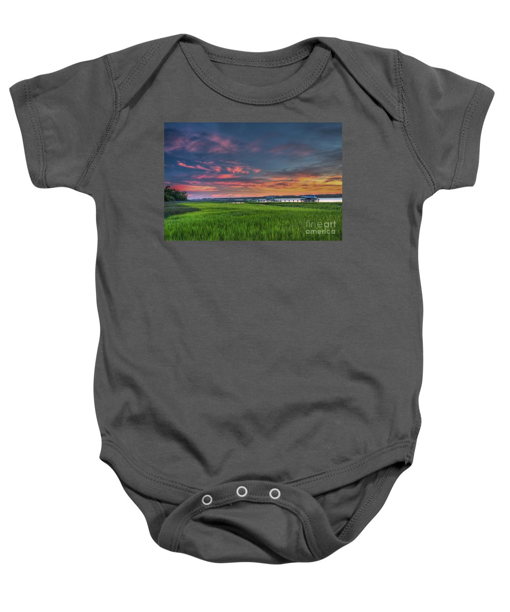 Marsh Baby Onesie featuring the photograph Sunset On The Wando by Dale Powell