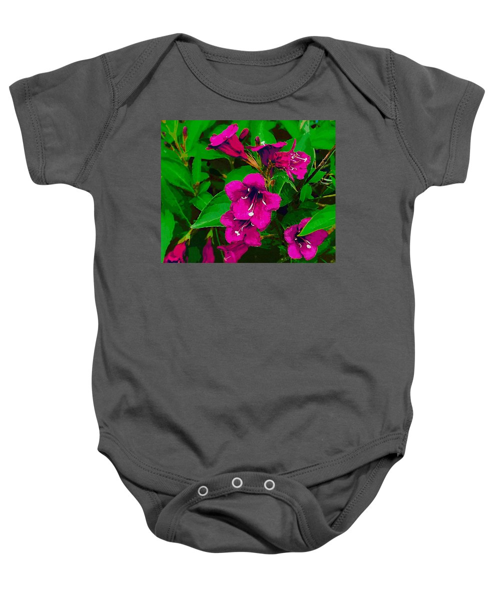 Landscape Baby Onesie featuring the mixed media Sunset Over Cayman Islands by Pepita Selles