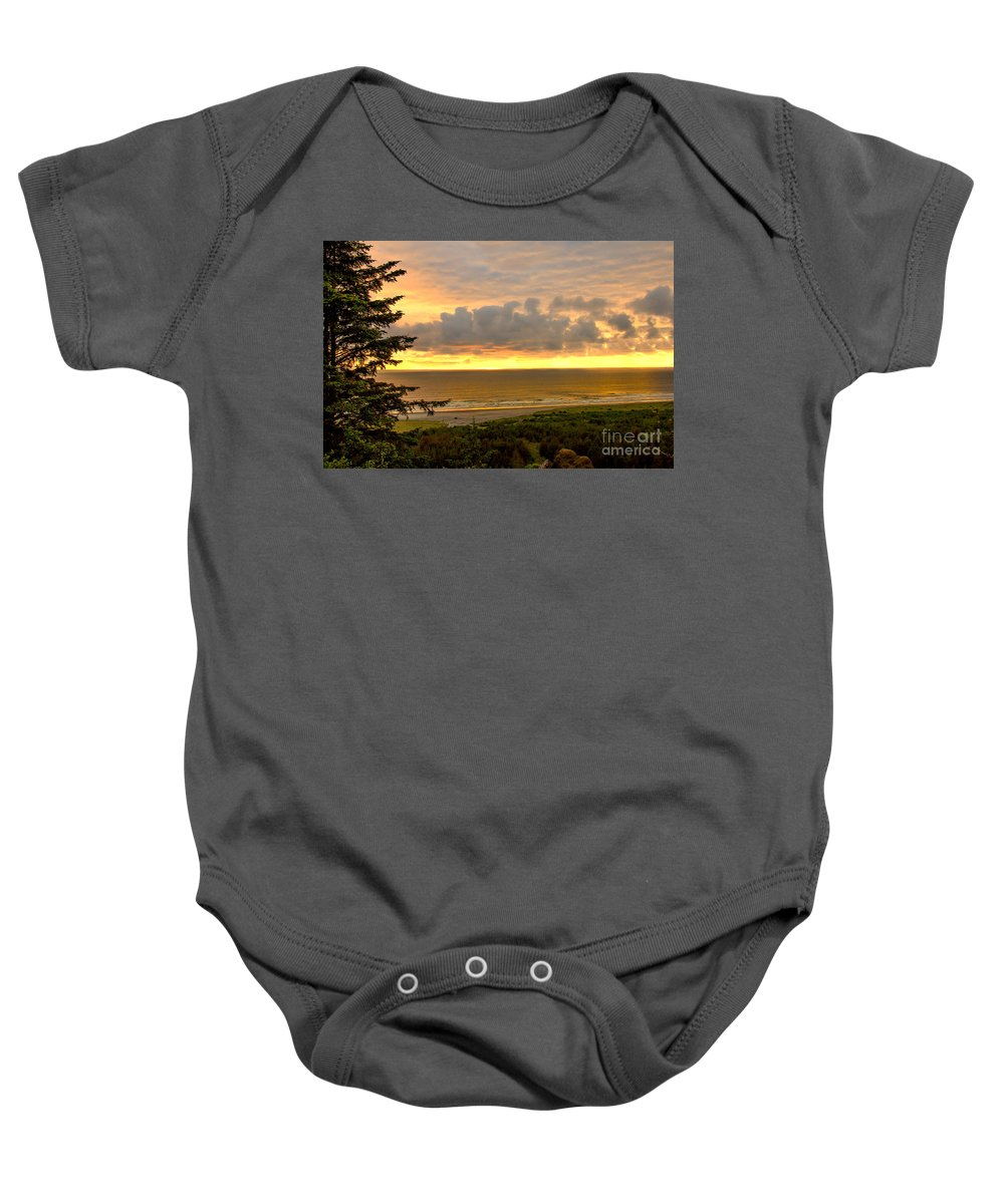 Sunset Baby Onesie featuring the photograph Sunset Over The Pacific Ocean by Robert Bales