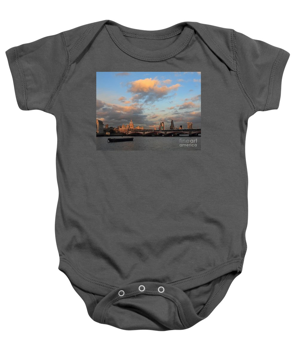 Baby Onesie featuring the photograph Sunset Over The River Thames London by Julia Gavin