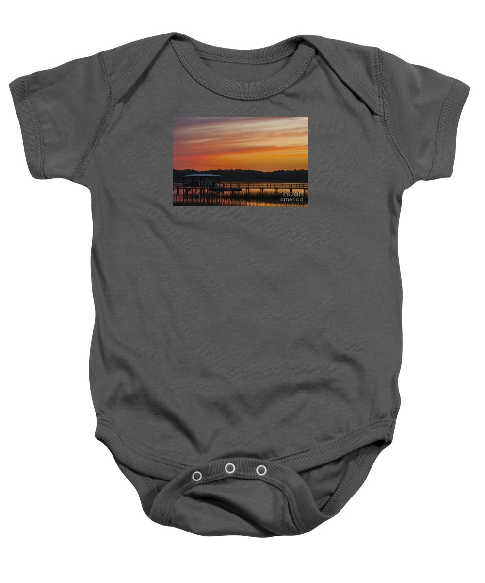 Sunset Baby Onesie featuring the photograph Sunset Over The Wando River by Dale Powell