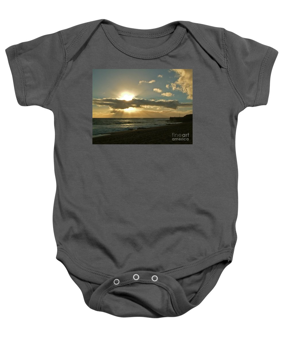 Portrhleven Baby Onesie featuring the photograph Sunset Porthleven Cornwall Summer 2005 by Simon Kennedy