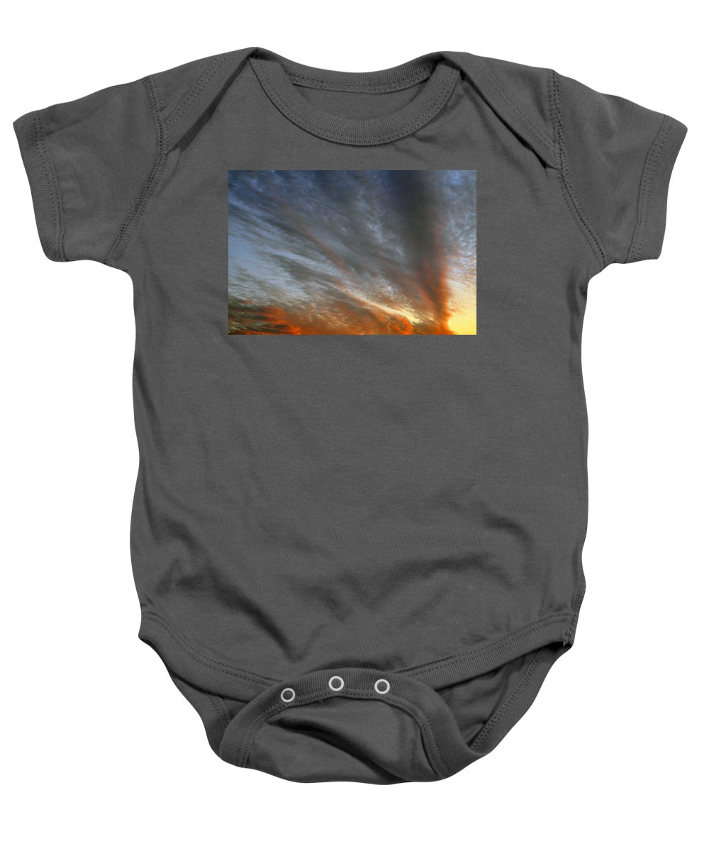 Color Baby Onesie featuring the photograph Sunset Sky With Cirrocumulus Clouds Usa by Sally Rockefeller