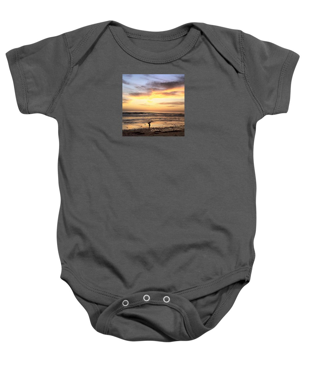 Sunset Surfer Print Framed Prints Baby Onesie featuring the photograph Sunset Surfer by Paul Carter