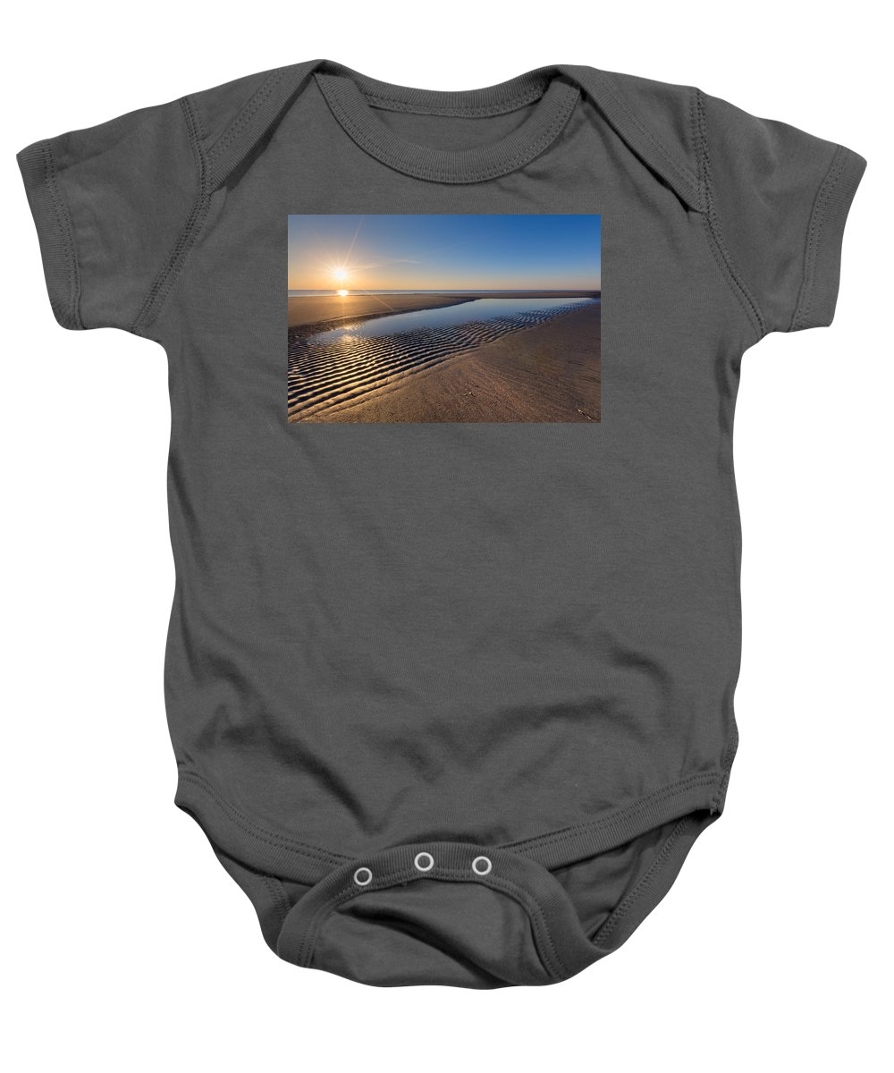 Clouds Baby Onesie featuring the photograph Sunshine On The Beach by Debra and Dave Vanderlaan