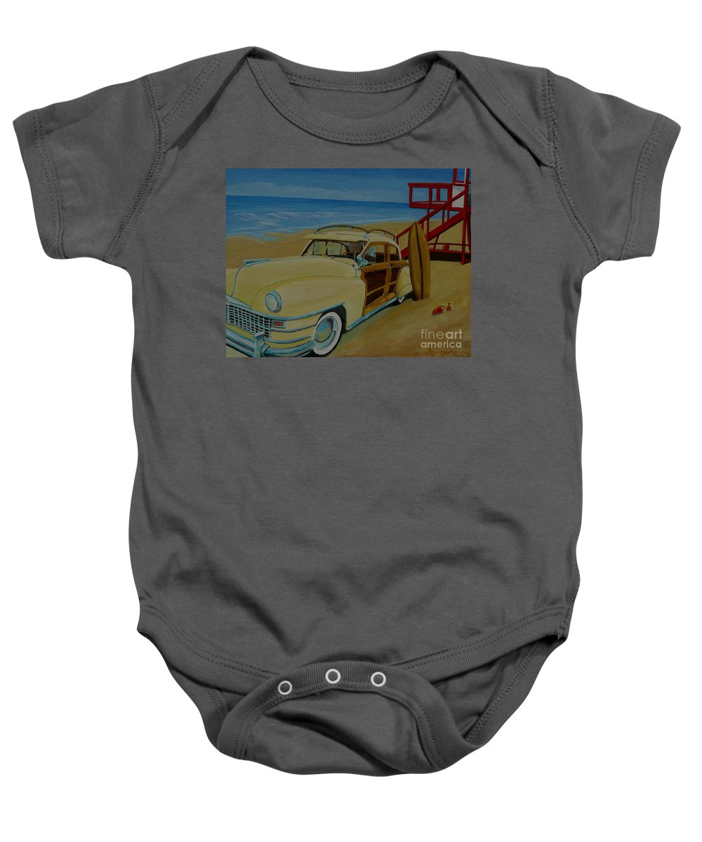 Woody Baby Onesie featuring the painting Surfers Woody by Anthony Dunphy
