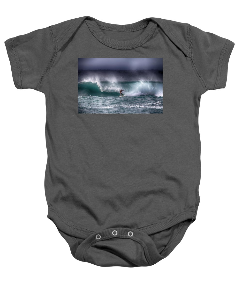 The Vans World Cup Of Surfing Baby Onesie featuring the photograph Surfing In The Usa V10 by Douglas Barnard