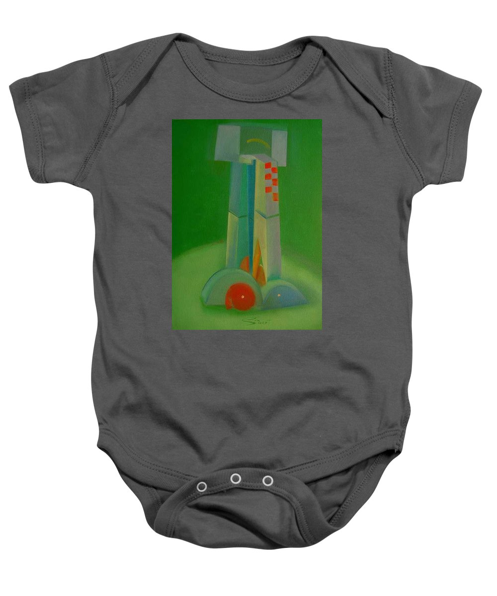 Cubist View Of Figure Baby Onesie featuring the painting Survivors by Charles Stuart