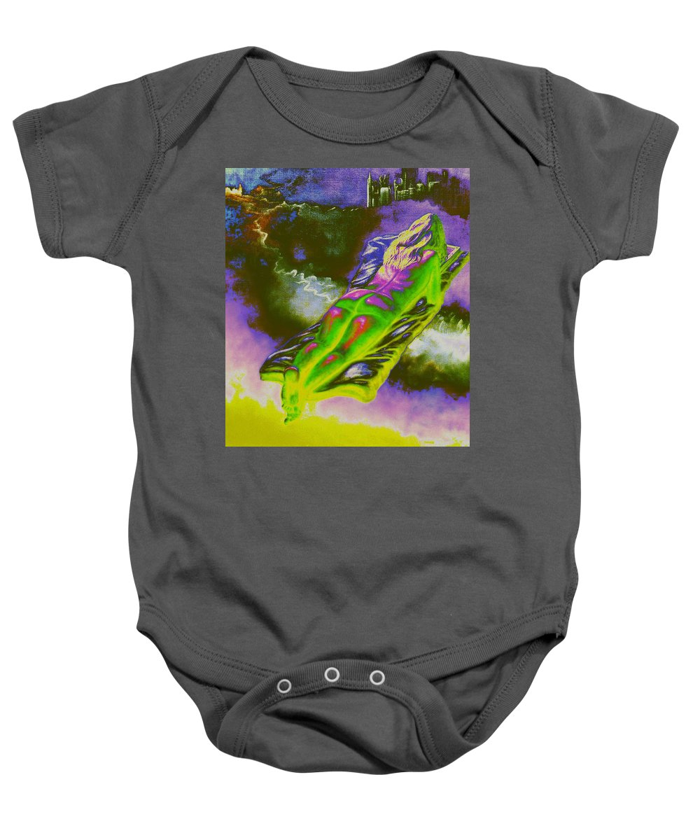 Genio Baby Onesie featuring the mixed media Swallowed By Books by Genio GgXpress