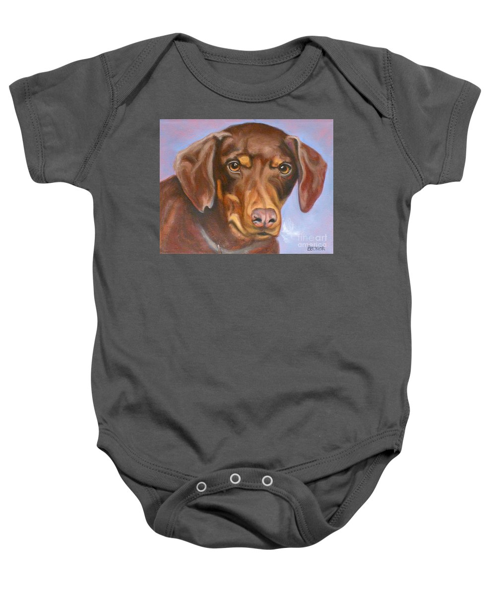 Dog Baby Onesie featuring the painting Rescued At Last by Susan A Becker