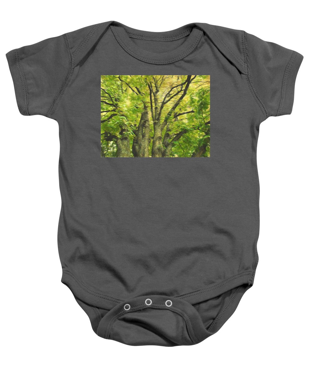 Green Tree Baby Onesie featuring the photograph Swirls Of Green by Alice Gipson