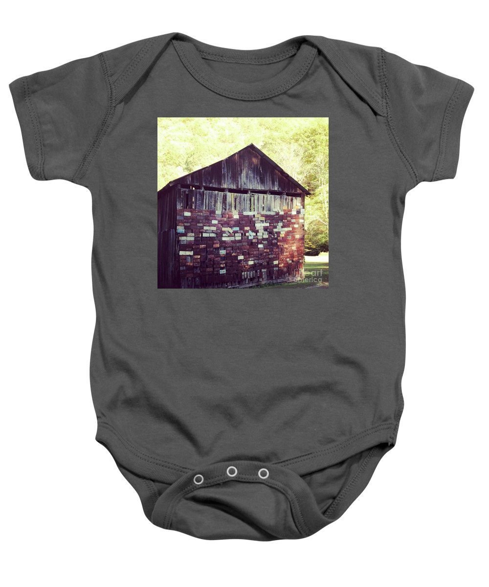 Mountains Baby Onesie featuring the photograph Tag Barn by Janice Spivey