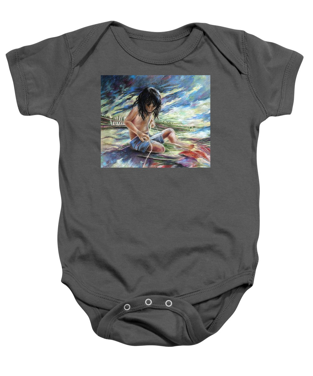 Travel Baby Onesie featuring the painting Tahitian Boy With Knife by Miki De Goodaboom