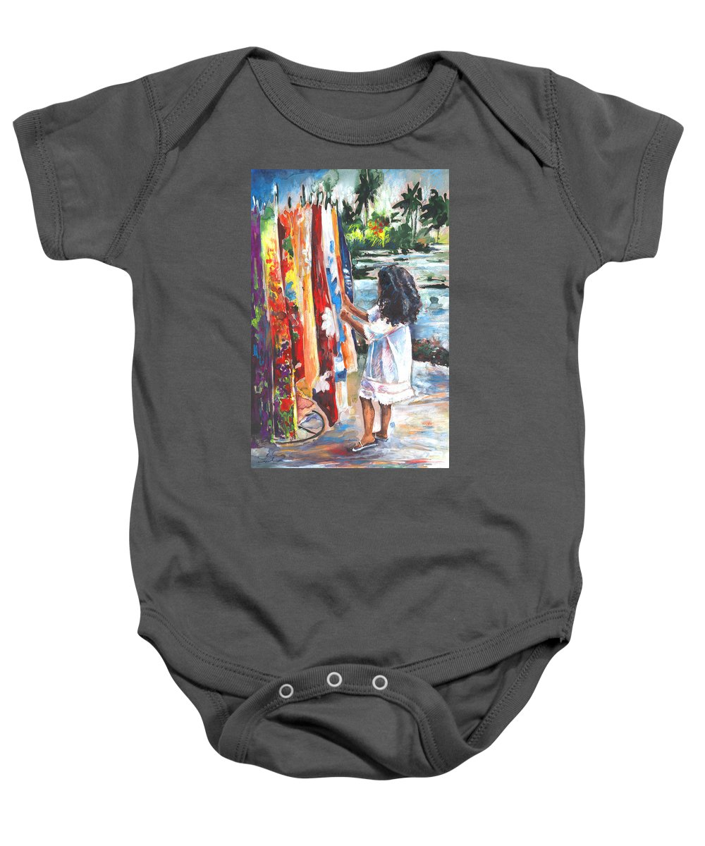 Travel Baby Onesie featuring the painting Tahitian Girl With Pareos by Miki De Goodaboom