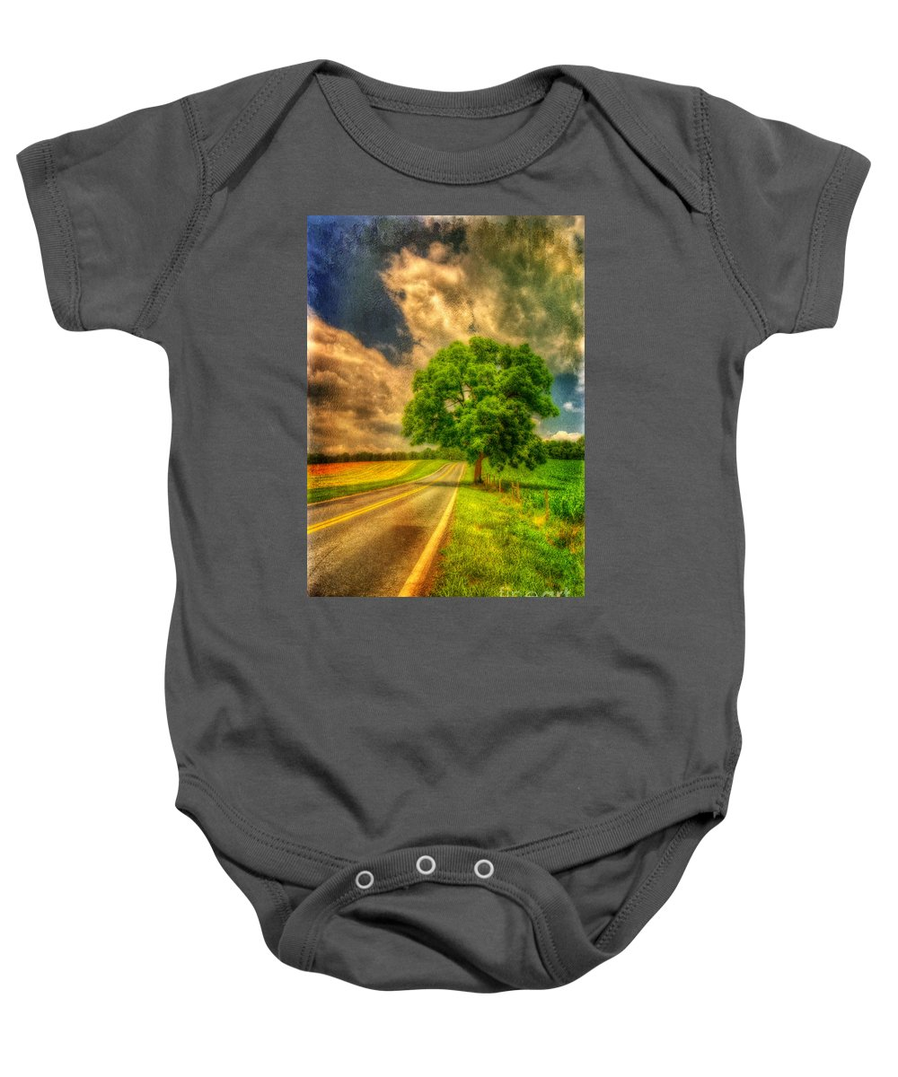 Road Baby Onesie featuring the photograph Take Me Home by Lois Bryan