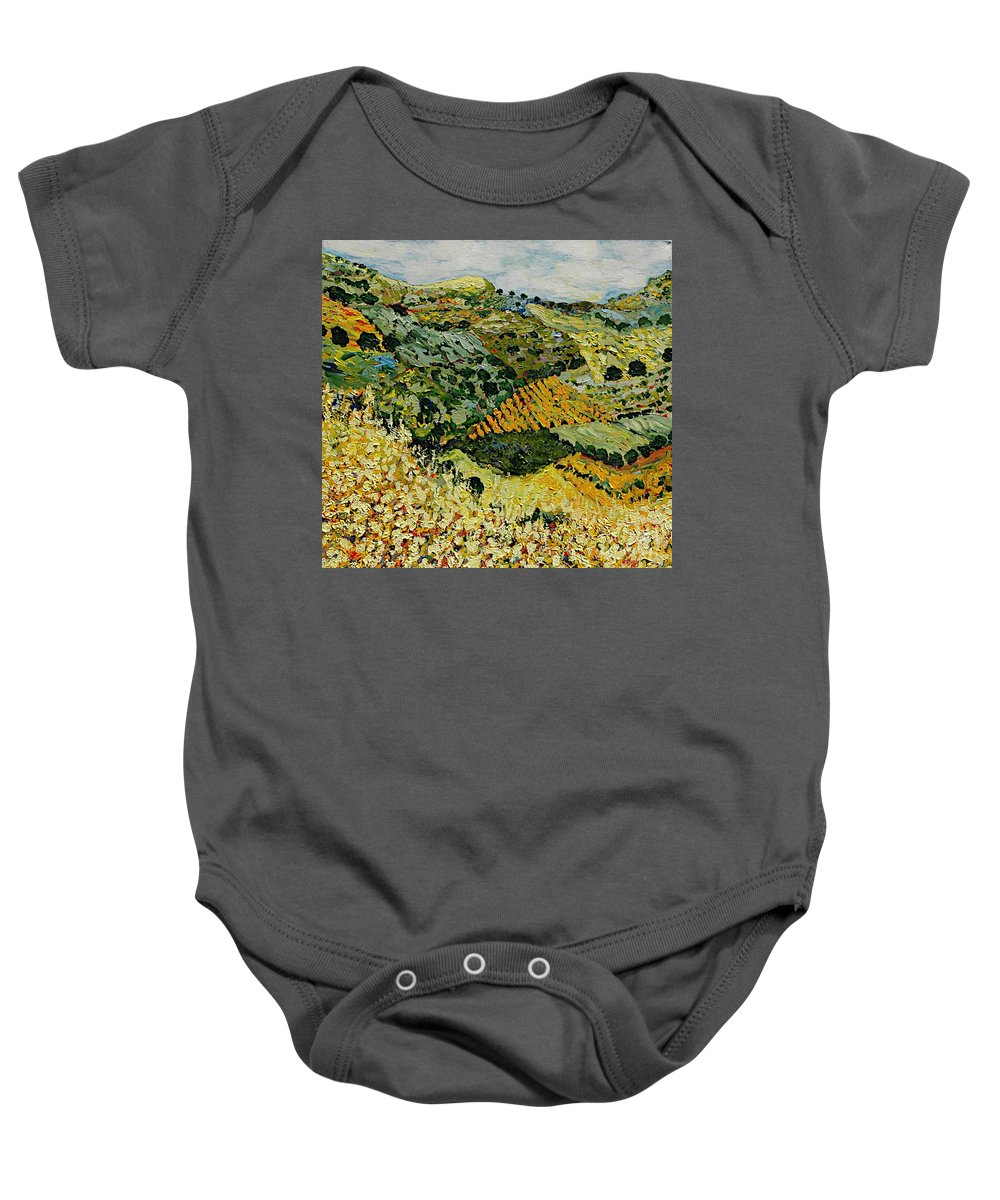 Landscape Baby Onesie featuring the painting Tall Grass by Allan P Friedlander