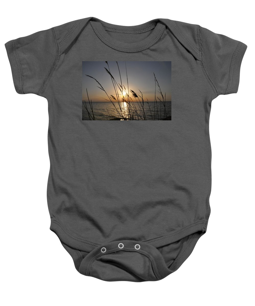Sunset Baby Onesie featuring the photograph Tall Grass Sunset by Bill Cannon