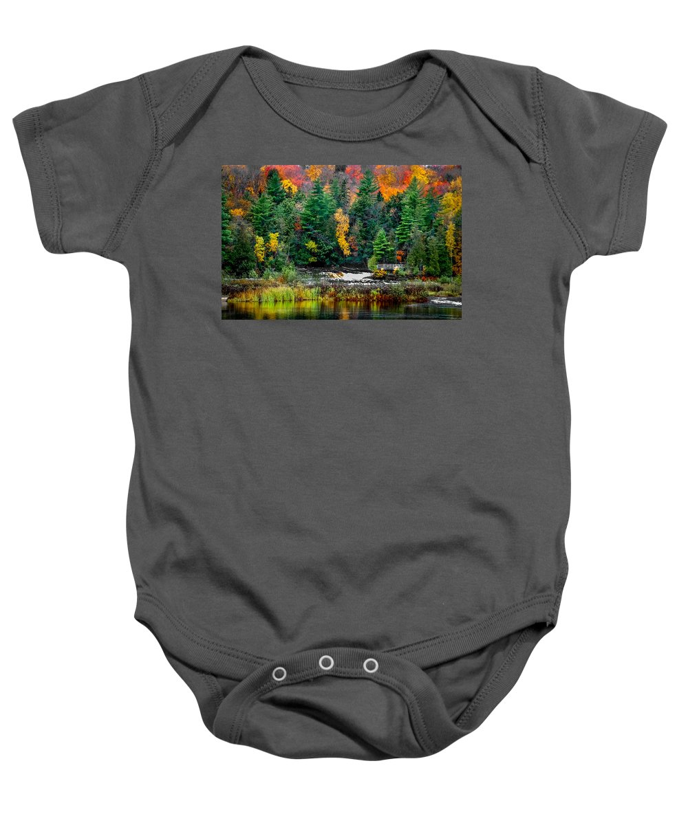 Optical Playground By Mp Ray Baby Onesie featuring the photograph Taquamenon Lower Falls And Observation Deck. by Optical Playground By MP Ray