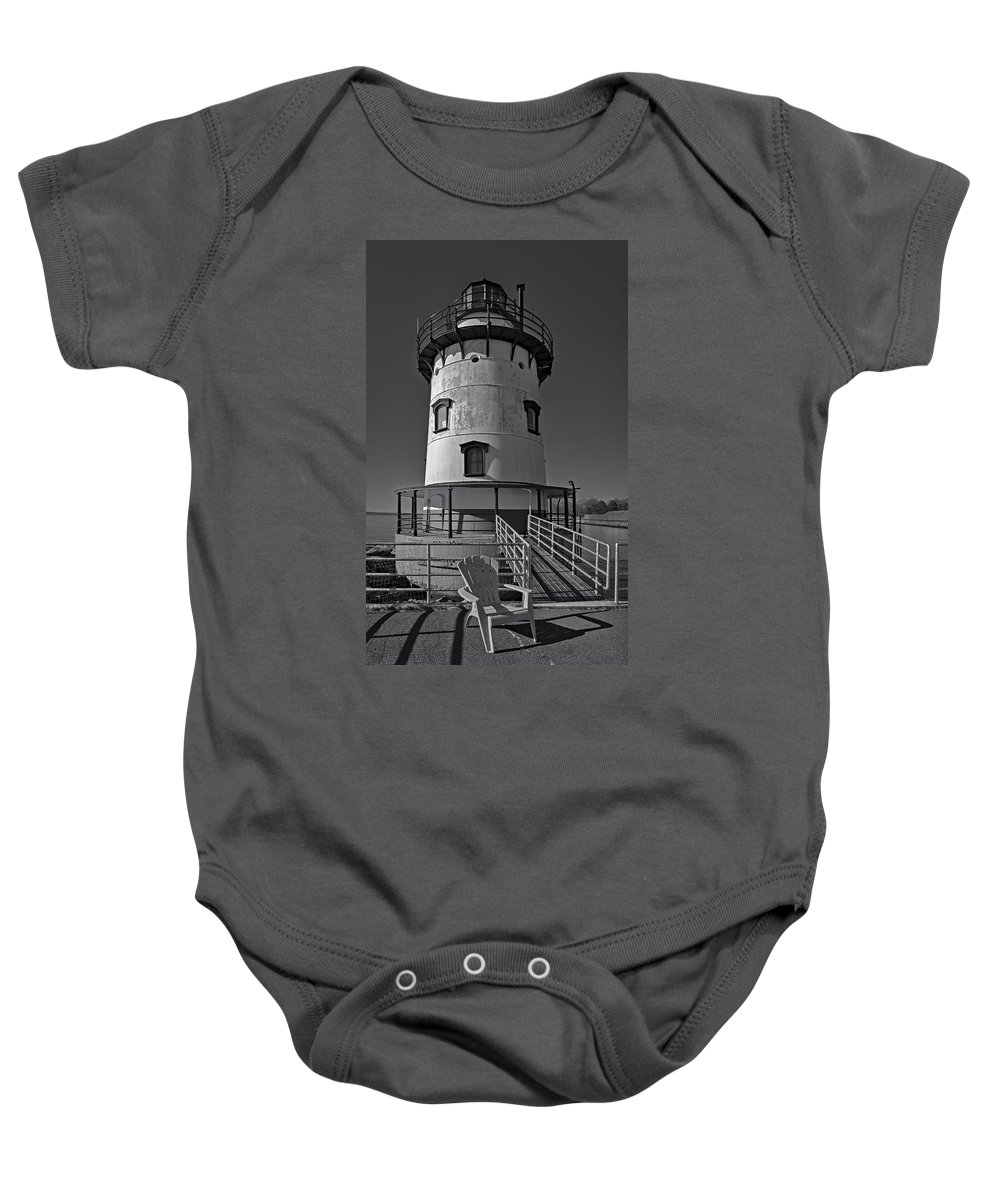 Empire State Baby Onesie featuring the photograph Tarrytown Lighthouse Bw by Susan Candelario