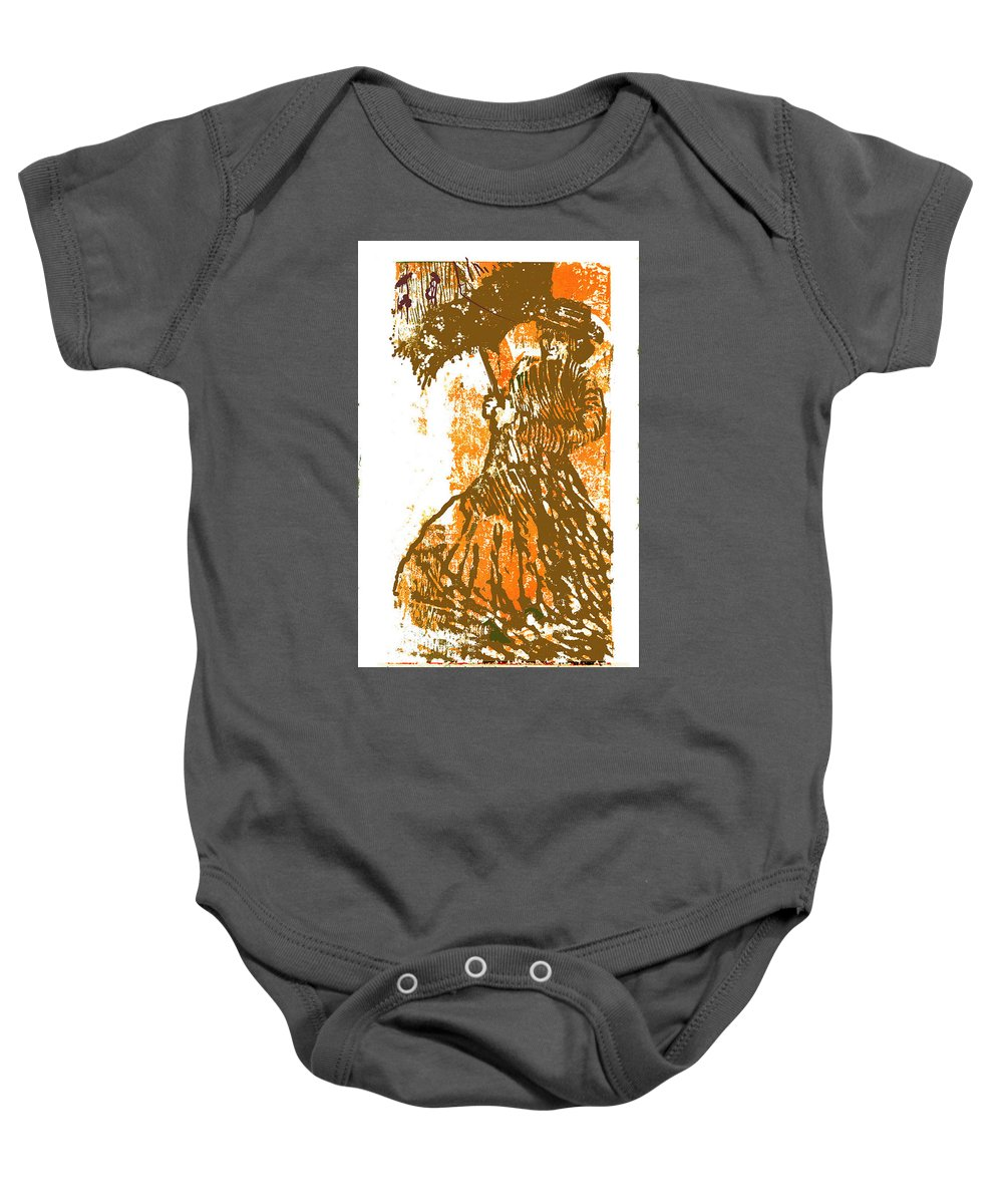Tattered Parasol Baby Onesie featuring the drawing Tattered Parasol by Seth Weaver