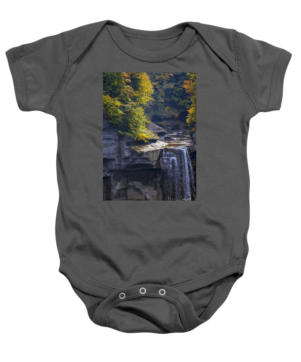 Upper Taughannock Falls State Park Baby Onesie featuring the photograph Taughannock Falls by Bob Phillips